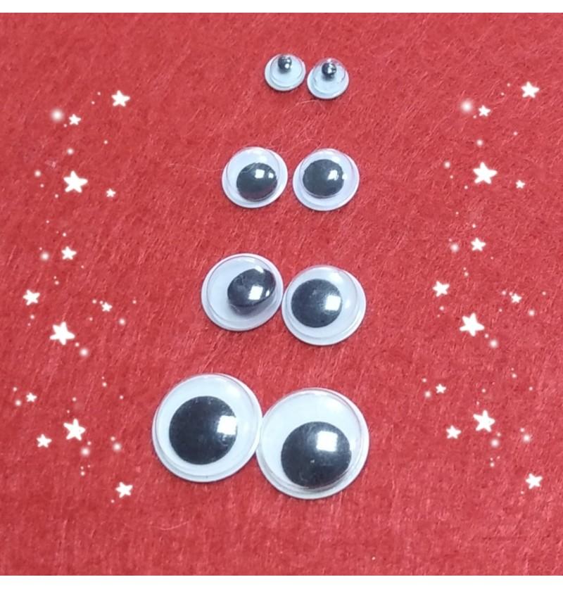Глазки для игрушек подвижные круглые, пара (5мм,8мм,9мм,12мм)