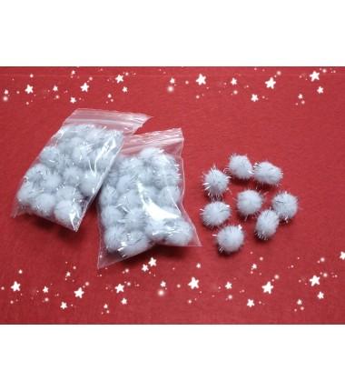 Помпоны белые с люрексом 15мм (уп-ка 20шт)