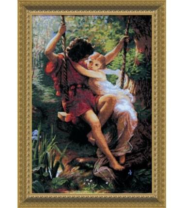 """Набор для вышивки крестиком По мотивам западноевропейской живописи """"Влюбленные на качели"""""""