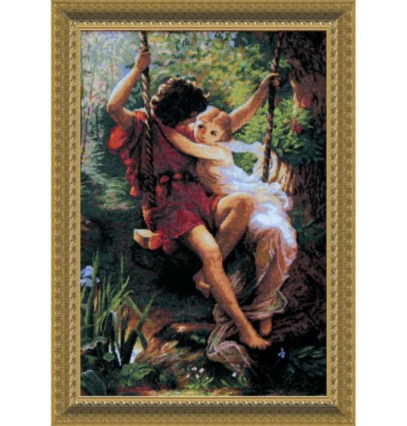 Набор для вышивки крестиком По мотивам западноевропейской живописи Влюбленные на качели